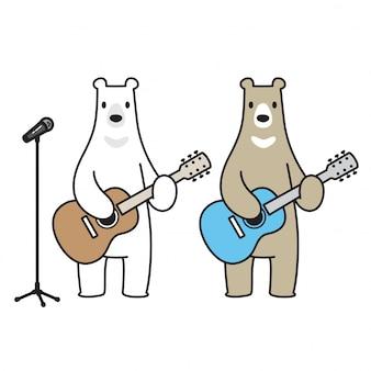 Vecteur de dessin animé ours musique polaire guitare