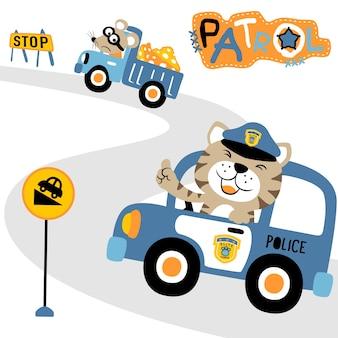Vecteur de dessin animé de patrouille de police