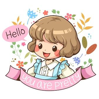 Vecteur de dessin animé de personnage mignon fille