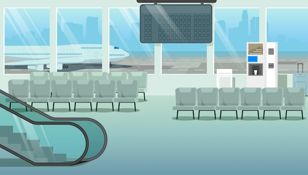 Vecteur de dessin animé salle moderne ou salle d'attente aéroport