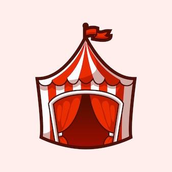 Vecteur de dessin animé de tente de cirque de parc d'attractions