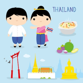 Vecteur de dessin animé thaïlande tradition asie mascotte garçon fille