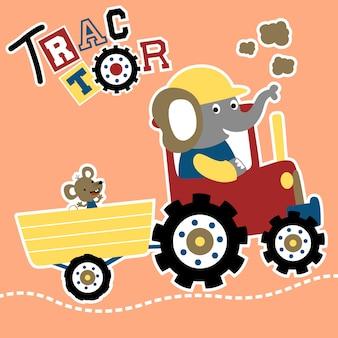 Vecteur de dessin animé de tracteur