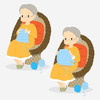 Vecteur de dessin animé de vieille dame