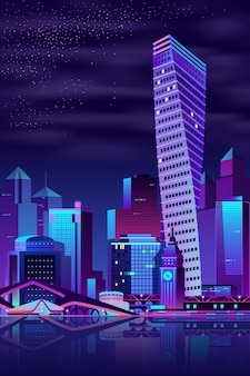 Vecteur de dessin animé ville moderne quai nuit paysage