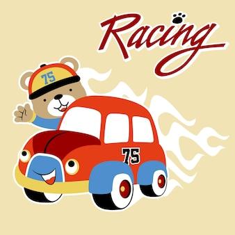 Vecteur de dessin animé de voiture de course