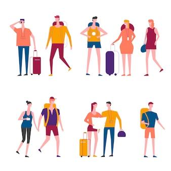 Vecteur de dessin animé voyageurs voyageant des icônes de personnes