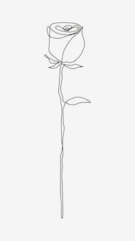 Vecteur de dessin au trait fleur rose