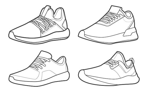 Vecteur de dessin de contour de chaussures de baskets de collection