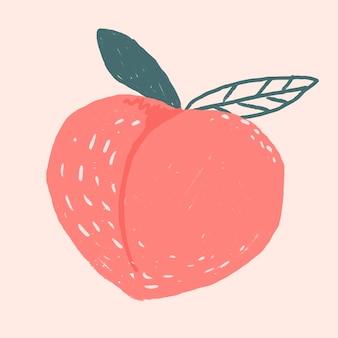 Vecteur de dessin de fruits pêche doodle