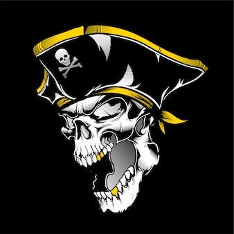 Vecteur de dessin main crâne pirate