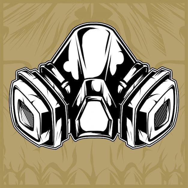 Vecteur de dessin main masque à gaz