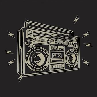Vecteur de dessin main rétro cassette stéréo radio enregistreur.boombox main