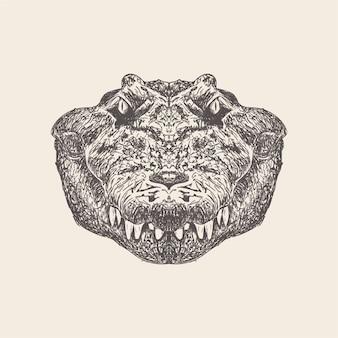 Vecteur dessiné de main d'illustration de crocodile.
