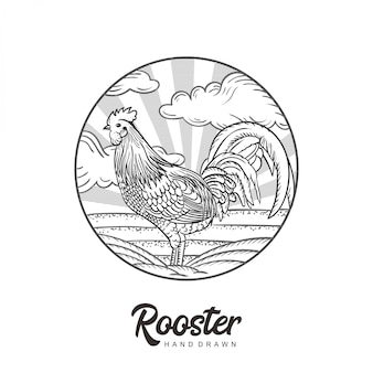 Vecteur de dessinés à la main logo coq