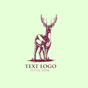 Vecteur de dessinés à la main vintage de style cerf logo