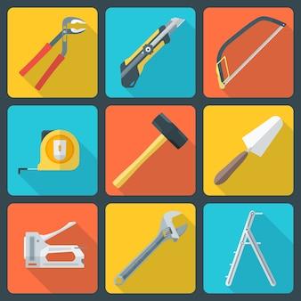 Vecteur diverses icônes de matériel instruments couleur réparation design plat maison réparation avec une ombre