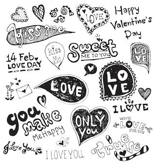 Vecteur de doodle d'amour