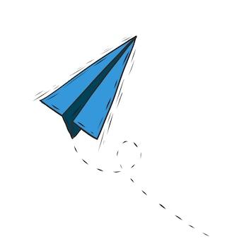 Vecteur de doodle d'avion en papier
