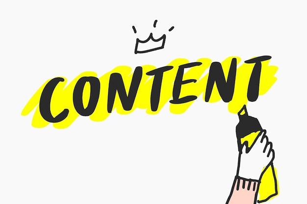 Vecteur de doodle de contenu de médias sociaux, concept marketing