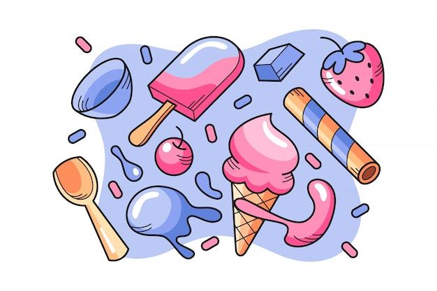 Vecteur de doodle de crème glacée