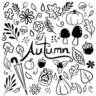 Vecteur de doodle dessiné main automne