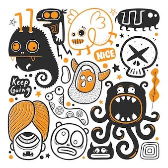 Vecteur de doodle dessiné main monstre drôle