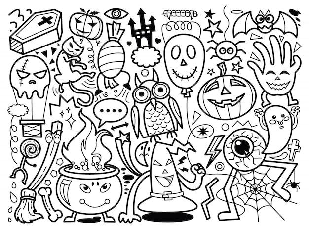 Vecteur de doodle dessiné main monstres halloween