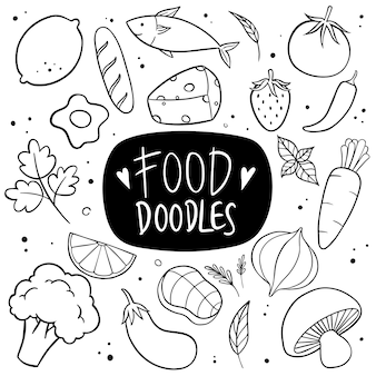 Vecteur de doodle dessinés à la main alimentaire