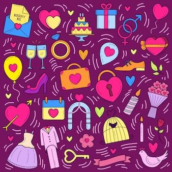 Vecteur doodle mariage fond dessinés à la main