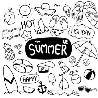Vecteur de doodles dessinés à la main l'été
