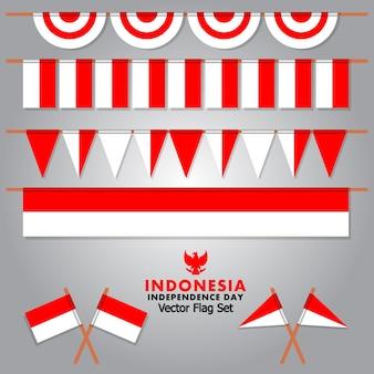 Vecteur de drapeau indonésien décoratif pour le jour de l'indépendance