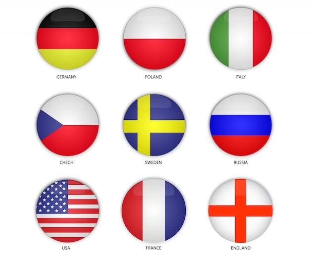 Vecteur de drapeau national bouton rond