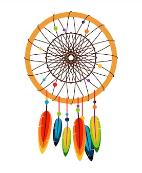 Vecteur de dreamcatcher sur blanc
