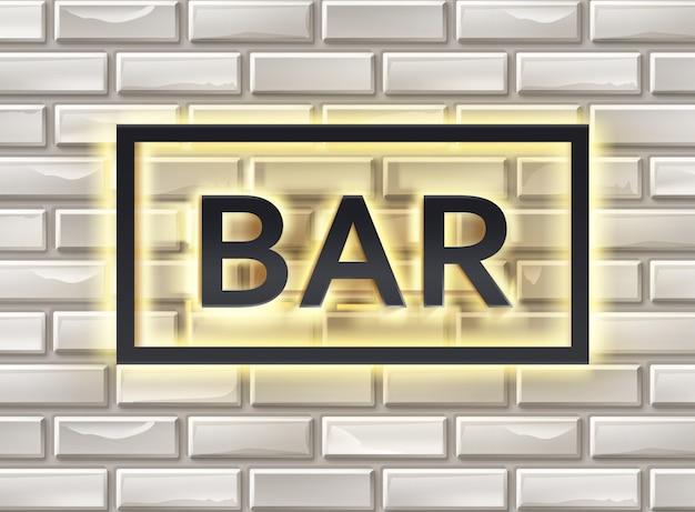 Vecteur éclairé avec enseigne de bar noir jaune sur mur de briques blanches