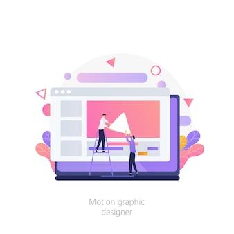 Vecteur d'éditeur de vidéo de conception graphique de mouvement de concepteur d'animation