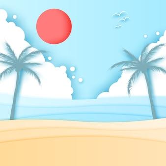 Vecteur de l'effet papier sunny beach