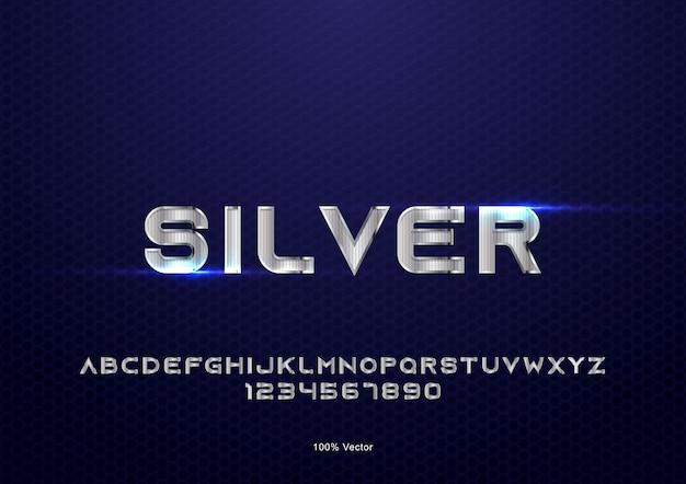 Vecteur d'effet de texte argenté avec décoration de texture