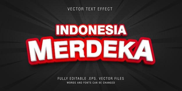 Vecteur d'effet de texte indonésie merdeka