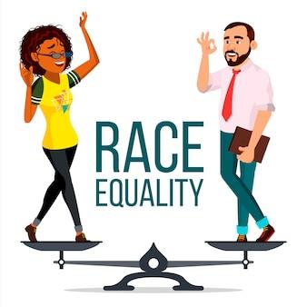 Vecteur d'égalité raciale. sur des échelles