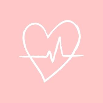 Vecteur d'élément de battement de coeur dans le style de griffonnage