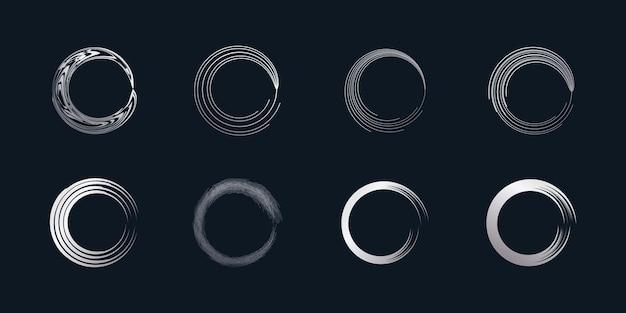 Vecteur d'élément de brosse de cercle avec une forme d'argent créative vecteur premium partie 5