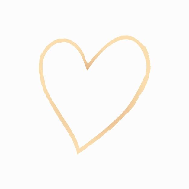 Vecteur d'élément coeur or dans un style dessiné à la main