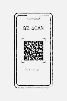 Vecteur d'élément de conception de code qr de téléphone, doodle illustration dessinés à la main