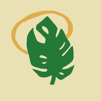 Vecteur d'élément de conception de feuille de monstera vert