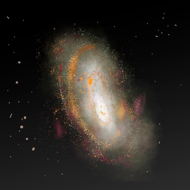Vecteur d'élément de galaxie esthétique en fond noir