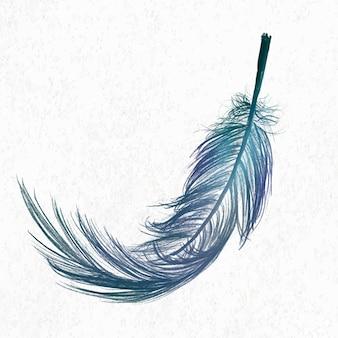 Vecteur d'élément de plume bleue en fond blanc