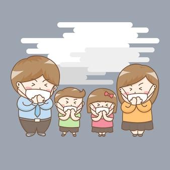 Vecteur d'éléments de conception du personnage de dessin animé familial mignon