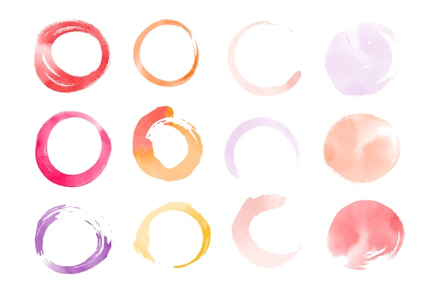 Vecteur d'éléments ronds d'aquarelle