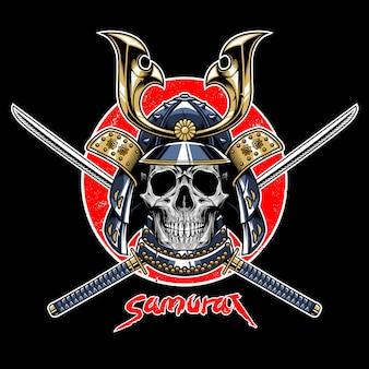 Vecteur de l'emblème guerrier samurai crâne